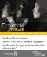 Affiche : trois profils de femmes, en noir et blanc, une semble asiatique, une africaine, une peut-être indienne (Inde). « Ensemble pour agir » Logo des deux organisations.