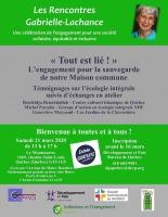 Affiche sur fond gris et vert vif : portrait de Gabrielle Lachance. Logo : CAPMO, Dev. et Paix, Initiatives et Changement, Église catholique de Québec, un autre inconnu.