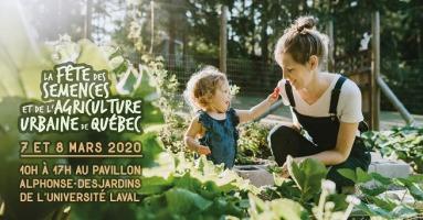 Affichette sur fond d'une photo d'une jeune mère avec une très jeune enfant dans un jardin très vert.