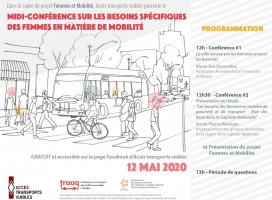 Affiche sur fond blanc : dessin de plusieurs personnes traversant la rue devant un autobus. Les détails sont transcrits dans l'annonce ici.