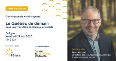 Affiche sur blanc avec photo du conférencier souriant, lunettes, sur fond d'une photo de forêt placée derrière. Logo : PoleCN ; Caisse d'économie solidaire Desjardins.