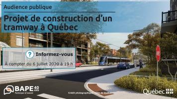 Affichette : photo d'une petite rue à Québec, mais avec une belle voie de tramway et un trottoir blanc tout neuf. « BAPE, 40 ans : participez à l'avenir ». Logo du gouv. du Québec.