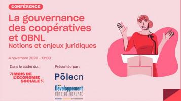 Affichette sur fond rose : dessin d'une conférencière, en robe rose, derrière un podium. Logo : PôleCN et Dev. Côte-de-Beaupré. Mois de l'économie sociale.