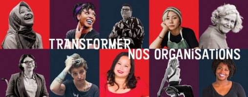 Bannière horizontale : 10 portraits colorés de femmes de styles et âges très différents.