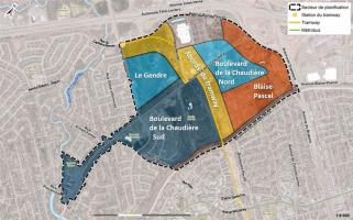 Carte colorée du secteur et résumant la Vision proposée