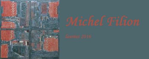 Photo d'une toile de Michel Filion [ressemble à une fenêtre avec des textures rougeâtres], lauréat du concours en 2016 © Michel Filion Galerie Louise-Carrier 2016