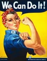 Affiche étasunienne classique: une femme en chemise bleu foncé de travail montrant son bicep et portant un foulard rouge pour tenir ses cheveux. We Can Do It ! - War Production Co-ordination Committee.